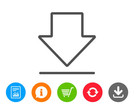 Download line icon. Internet Downloading sign. Load file symbol. Report, Information and Refresh line signs. Shopping cart and Download icons. Editable stroke. Vector Ilustrace