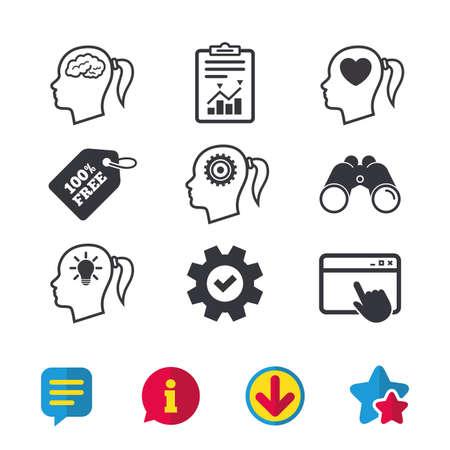 脳と考え頭ランプ電球アイコン。女性では、シンボルだと思います。歯車は歯車の兆候です。心が大好きです。ブラウザー ウィンドウ、レポートと