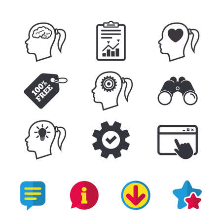 Head with brain and idea lamp bulb icons. Female woman think symbols. Cogwheel gears signs. Love heart. Browser window, Report and Service signs. Binoculars, Information and Download icons. Vector