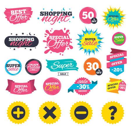販売ショッピング バナー。プラスとマイナスのアイコン。削除し、FAQ のマークの標識を質問します。ズーム記号を拡大します。Web バッジ、スプラ