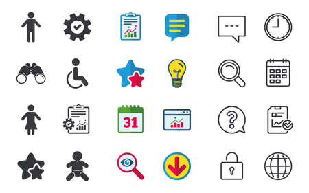 WC toilet icons. Human male or female signs. Baby infant or toddler. Disabled handicapped invalid symbol. Chat, Report and Calendar signs. Stars, Statistics and Download icons. Vector Фото со стока - 84142506