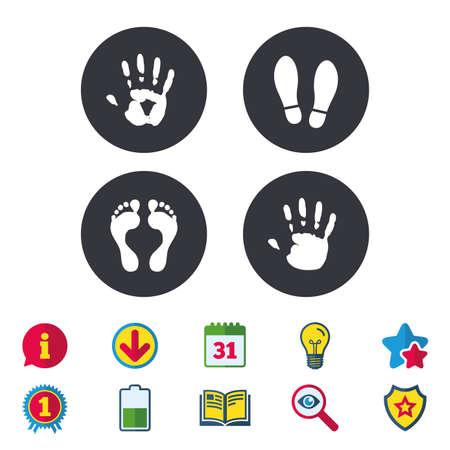 Hand- und Fußdruckikonen. Impressum Schuhe und Barfuß-Symbole. Stop, gib kein Zeichen ein. Kalender, Informationen und Download-Zeichen. Sterne, Auszeichnung und Buchikonen. Glühbirne, Schild und Suche. Vektor Standard-Bild - 84142507