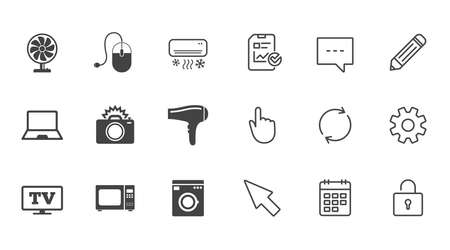 Home appliances, device icons. Electronics signs. Air conditioning, washing machine and ventilator symbols. Chat, Report and Calendar line signs. Service, Pencil and Locker icons. Vector Ilustração