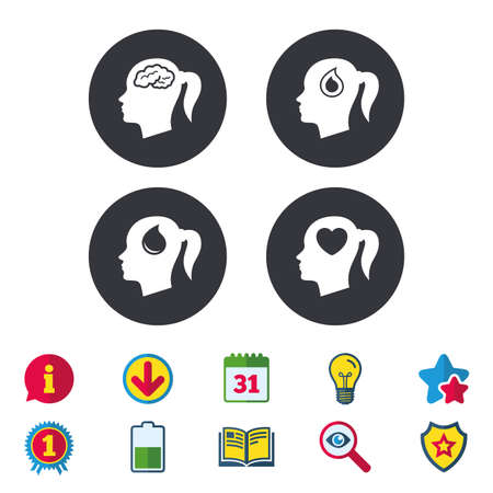 Head with brain icon. Female woman think symbols. Blood drop donation signs. Love heart. Calendar, Information and Download signs. Stars, Award and Book icons. Light bulb, Shield and Search. Vector