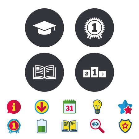 Graduation icons. Graduation student cap sign. Education book symbol. First place award. Winners podium. Calendar, Information and Download signs. Stars, Award and Book icons. Vector