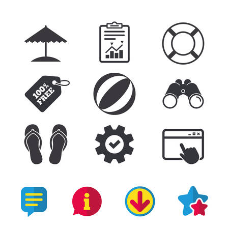 Beach holidays icons. Ball, umbrella and flip-flops sandals signs. Lifebuoy symbol. Browser window, Report and Service signs. Binoculars, Information and Download icons. Stars and Chat. Vector Illustration