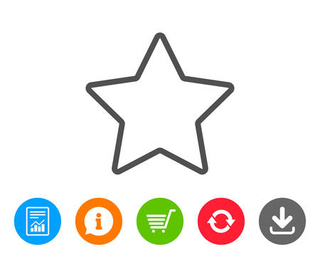 Star line icon. Best rank sign. Bookmark or Favorite symbol. Report, Information and Refresh line signs. Shopping cart and Download icons. Editable stroke. Vector Çizim