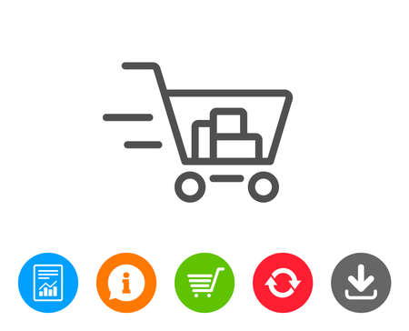 supermarket: Delivery Service line icon. Shopping cart sign. Express Online buying. Supermarket basket symbol. Report, Information and Refresh line signs. Shopping cart and Download icons. Editable stroke. Vector