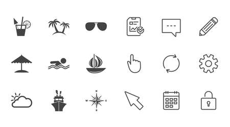compass rose: Cruise trip, ship and yacht icons. Travel, cocktails and palm trees signs. Sunglasses, windrose and swimming symbols. Chat, Report and Calendar line signs. Service, Pencil and Locker icons. Vector Illustration