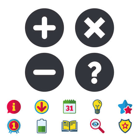 Plus and minus icons. Delete and question FAQ mark signs. Enlarge zoom symbol. Calendar, Information and Download signs. Stars, Award and Book icons. Light bulb, Shield and Search. Vector Çizim