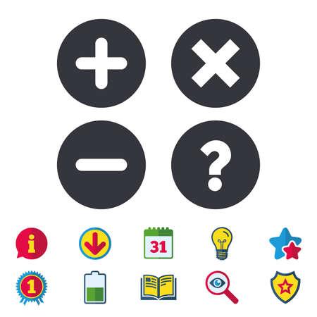 Plus- en minuspictogrammen. Verwijder en ondervraag FAQ-borden. Zoom symbool vergroten. Kalender, informatie en downloadborden. Stars, Award en Book-pictogrammen. Gloeilamp, schild en zoeken. Vector Stock Illustratie