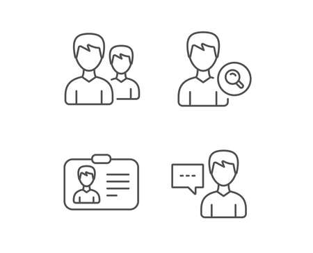 Group of Users, Search and ID card line icons. Profile and Talk signs. Quality design elements. Editable stroke. Vector