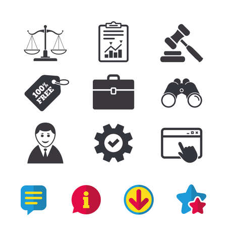 Scales of Justice icon. Client or Lawyer symbol. Auction hammer sign. Law judge gavel. Court of law. Browser window, Report and Service signs. Binoculars, Information and Download icons. Vector
