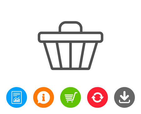 shopping chart: Shopping cart line icon. Online buying sign. Supermarket basket symbol. Report, Information and Refresh line signs. Shopping cart and Download icons. Editable stroke. Vector Illustration