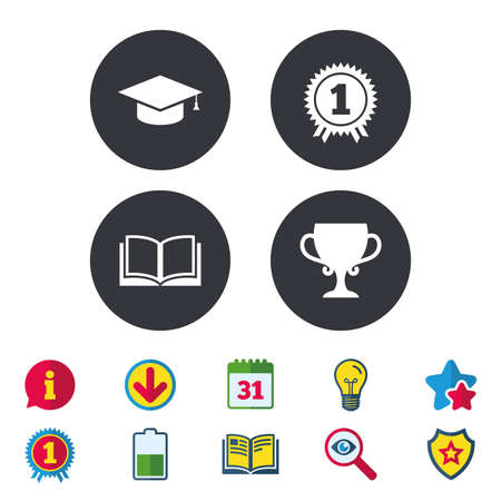 Graduation icons. Graduation student cap sign. Education book symbol. First place award. Winners cup. Calendar, Information and Download signs. Stars, Award and Book icons. Vector
