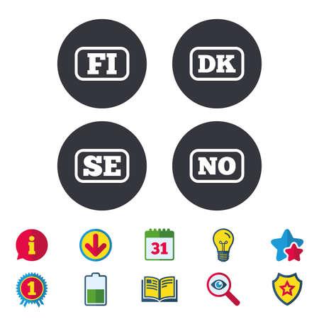 언어 아이콘. FI, DK, SE 및 NO 변환 기호. 핀란드, 덴마크, 스웨덴, 노르웨이 언어. 달력, 정보 및 다운로드 표지판. 별, 보너스 및 도서 아이콘. 벡터 일러스트