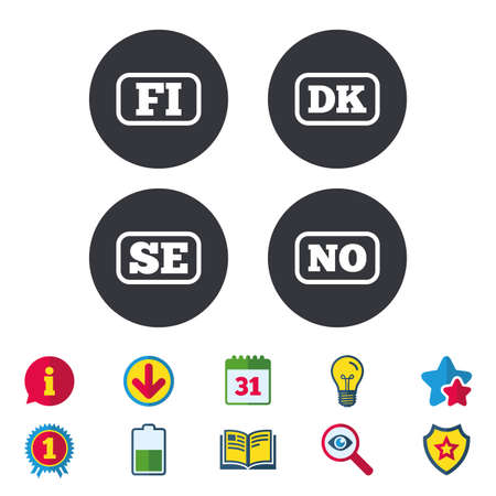 Language icons. FI, DK, SE and NO translation symbols. Finland, Denmark, Sweden and Norwegian languages. Calendar, Information and Download signs. Stars, Award and Book icons. Vector Иллюстрация