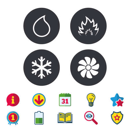 HVAC icons. Heating, ventilating and air conditioning symbols. Water supply. Climate control technology signs. Calendar, Information and Download signs. Stars, Award and Book icons. Vector Ilustrace