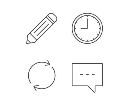 연설 거품, 편집 및 시계 라인 아이콘. 회전 기호입니다. 품질 디자인 요소입니다. 편집 가능한 획. 벡터