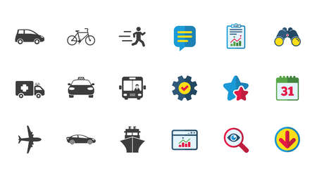 Transport icons. Car, bike, bus and taxi signs. Shipping delivery, ambulance symbols. Calendar, Report and Download signs. Stars, Service and Search icons. Statistics, Binoculars and Chat. Vector