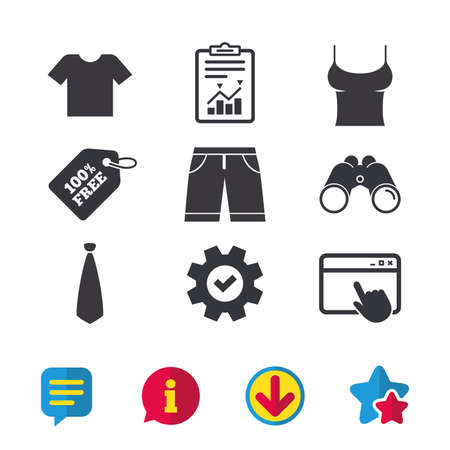 Clothes icons. T-shirt and bermuda shorts signs. Business tie symbol. Browser window, Report and Service signs. Binoculars, Information and Download icons. Stars and Chat. Vector Illustration