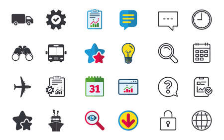 Transport icons. Truck, Airplane, Public bus and Ship signs. Shipping delivery symbol. Air mail delivery sign. Chat, Report and Calendar signs. Stars, Statistics and Download icons. Vector