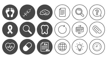 Iconos de medicina, salud médica y diagnóstico. Inyección de jeringa, latidos del corazón y signos de pastillas. Diente, neurología símbolos. Signos de línea de documento, globo y reloj. Iconos de lámpara, lupa y clip Foto de archivo - 84142658