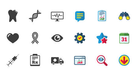 Medicine, healthcare and diagnosis icons. Tooth, syringe and ambulance signs. Dna, awareness ribbon symbols. Calendar, Report and Download signs. Stars, Service and Search icons. Vector Ilustracja