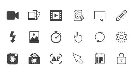 Photo, video icons. Camera, photos and frame signs. Flash, timer and landscape symbols. Chat, Report and Calendar line signs. Service, Pencil and Locker icons. Click, Rotation and Cursor. Vector
