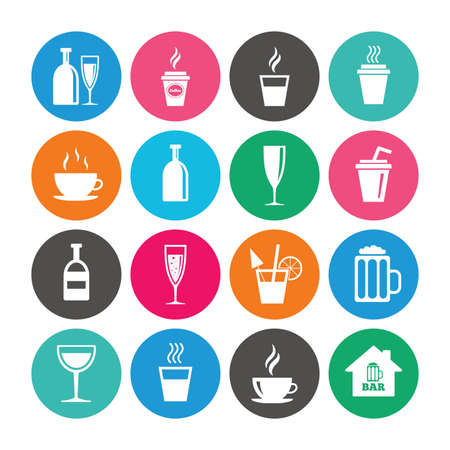 Set of Drinks, Beer and Cocktails icons. Coffee, Tea and Alcohol drinks. Wine bottle, Glass and Bar symbols. Colored circle buttons with flat signs. Vector Ilustração