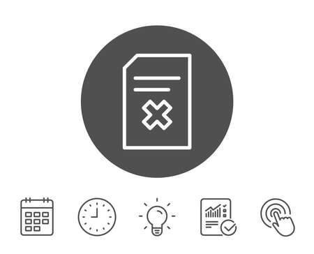 Remove Document line icon. Delete Information File sign. Paper page concept symbol. Report, Clock and Calendar line signs. Light bulb and Click icons. Editable stroke. Vector Çizim