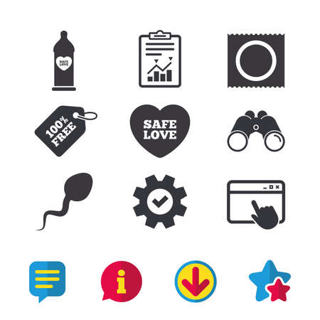 Safe sex love icons. Condom in package symbol. Sperm sign. Fertilization or insemination. Browser window, Report and Service signs. Binoculars, Information and Download icons. Stars and Chat. Vector Illustration