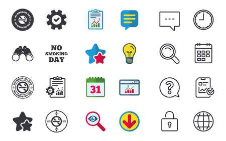 Niet roken dag pictogrammen. Tegen sigaretten tekenen. Stoppen met roken of stoppen met roken. Chat-, rapport- en kalenderborden. Sterren, Statistieken en Download pictogrammen. Vraag, klok en wereld. Vector