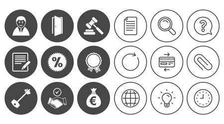 Real estate, auction icons. Home key, discount and door signs. Business agent, award medal symbols. Document, Globe and Clock line signs. Lamp, Magnifier and Paper clip icons. Vector