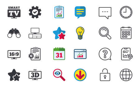 Smart TV mode icon. Aspect ratio 16:9 widescreen symbol. 3D Television and TV table signs. Chat, Report and Calendar signs. Stars, Statistics and Download icons. Question, Clock and Globe. Vector