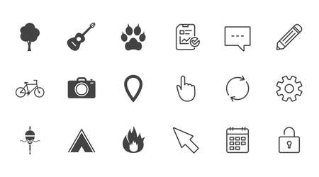 Tourism, camping icons. Fishing, fire and bike signs. Guitar music, photo camera and paw with clutches. Chat, Report and Calendar line signs. Service, Pencil and Locker icons. Vector