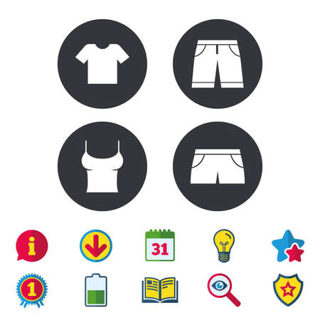 Clothes icons. T-shirt and bermuda shorts signs. Swimming trunks symbol. Calendar, Information and Download signs. Stars, Award and Book icons. Light bulb, Shield and Search. Vector Ilustração