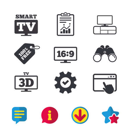 Smart TV mode icon. Aspect ratio 16:9 widescreen symbol. 3D Television and TV table signs. Browser window, Report and Service signs. Binoculars, Information and Download icons. Stars and Chat. Vector Illustration