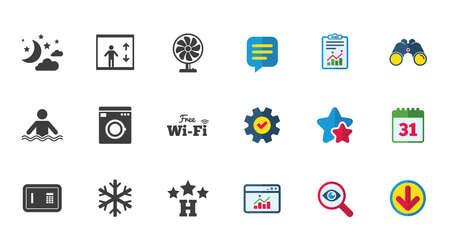 Hotel, appartementsdienst pictogrammen. Wasmachine. Wifi, airconditioning en zwembadsymbolen. Kalender, rapport en downloadborden. Pictogrammen voor sterren, service en zoeken. Statistieken, verrekijkers en chat