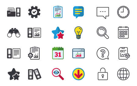Accounting report icons. Document storage in folders sign symbols. Chat, Report and Calendar signs. Stars, Statistics and Download icons. Question, Clock and Globe. Vector Иллюстрация