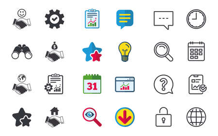 Handshake icons. World, Smile happy face and house building symbol. Dollar cash money bag. Amicable agreement. Chat, Report and Calendar signs. Stars, Statistics and Download icons. Vector