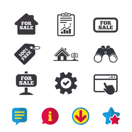 For sale icons. Real estate selling signs. Home house symbol. Browser window, Report and Service signs. Binoculars, Information and Download icons. Stars and Chat. Vector