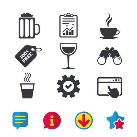 Drinks icons. Coffee cup and glass of beer symbols. Wine glass sign. Browser window, Report and Service signs. Binoculars, Information and Download icons. Stars and Chat. Vector