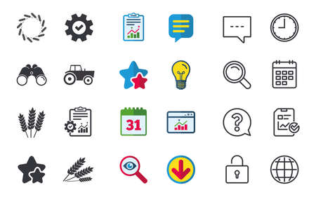 Agricultural icons. Wheat corn or Gluten free signs symbols. Tractor machinery. Chat, Report and Calendar signs. Stars, Statistics and Download icons. Question, Clock and Globe. Vector Illustration