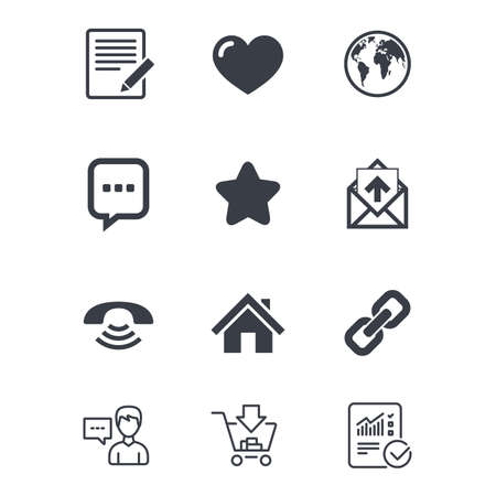 Mail, contact icons. Favorite, like and internet signs. E-mail, chat message and phone call symbols. Customer service, Shopping cart and Report line signs. Online shopping and Statistics. Vector Illustration