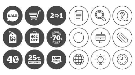 Sale discounts icon. Shopping cart, coupon and low price signs. 25, 40 and 60 percent off. Special offer symbols. Document, Globe and Clock line signs. Lamp, Magnifier and Paper clip icons. Vector Illustration