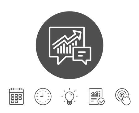 차트 라인 아이콘입니다. 연설 거품에 그래프 또는 판매 성장 기호를보고합니다. 분석 및 통계 데이터 기호입니다. 보고서, 시계 및 캘린더 라인 표지