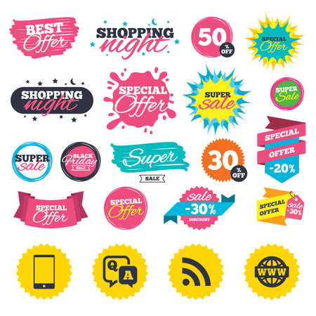 Sale shopping banners. Question answer icon.  Smartphone and Q&A chat speech bubble symbols. RSS feed and internet globe signs. Communication Web badges, splash and stickers. Best offer. Vector