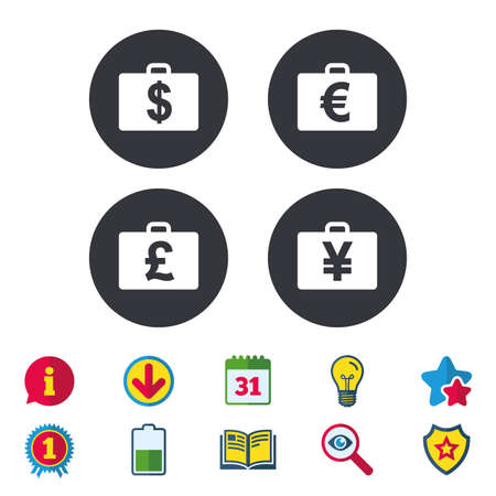Businessman case icons. Cash money diplomat signs. Dollar, euro and pound symbols. Calendar, Information and Download signs. Stars, Award and Book icons. Light bulb, Shield and Search. Vector