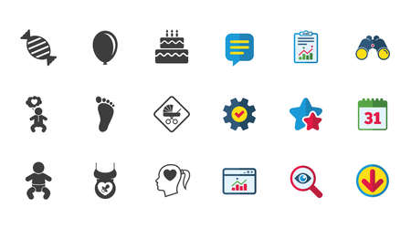 Pregnancy, maternity and baby care icons. Candy, strollers and pacifier signs. Footprint, birthday cake and heart symbols. Calendar, Report and Download signs. Stars, Service and Search icons. Vector